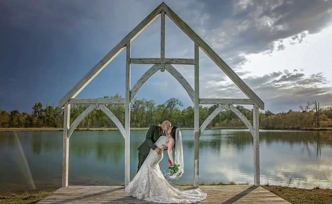 outdoor weddings by a lake pond water